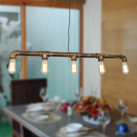 Vintage Metal Water Pipe Pendant Light Max 200W with 5 Lights Black with Copper Finish