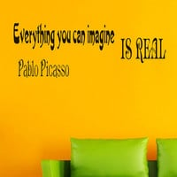 Wall Vinyl Decals Quote Decal Everything you can imagine is real Pablo Picasso Sayings Sticker Decals Wall Decor Murals Z2