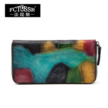 2017 New Arrival Retro Genuine Leather Women Wallet Multi Colors Patchwork Purse Wallet Women's Card Holder