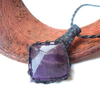 Amethyst necklace, macrame necklace, amethyst pyramid pendant, sobriety necklace, Aquarius stone, amethyst jewelry, purple gemstones