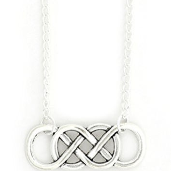 Double Infinity Loop Necklace Silver Tone Eternity Statement Pendant NY68 Fashion Jewelry