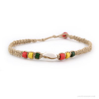 Rasta Bead & Hemp Anklet on Sale for $3.99 at The Hippie Shop