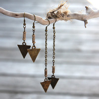 Tribal Earrings, Arrow Earrings, Vintage African Beads, Spear Earrings, Antique Bronze Chain Rustic Bohemian Earrings, Your choice of length