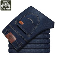 AFS JEEP Brand Men's Jeans Spring Autumn Men Jeans Stretch Mid-waist Straight Male Denim Pant Men's Trousers Jeans Homme