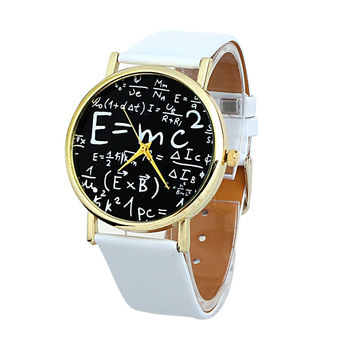 2016 New Arrival Luxury Women Watches Math Symbols Faux Leather Analog Quartz -watch Relogio Feminino Clock Hours