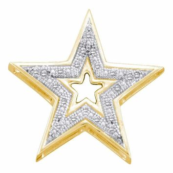 10kt Yellow Gold Women's Round Diamond Simple Star Cutout Pendant 1-20 Cttw - FREE Shipping (US/CAN)