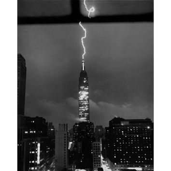 1945 NYC Lightning Photo Wood Sign