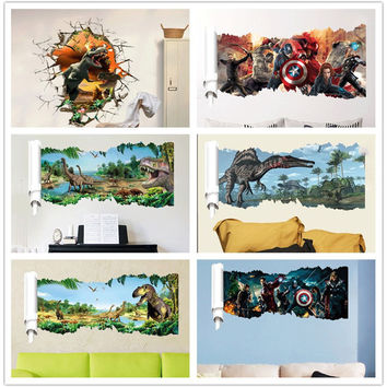 6 design Movie Film Cartoon Dinosaur Wall Sticker Super Hero Wall Decals for kids rooms Child Poster Boy's Room Art Decor Decals