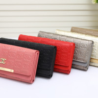 shosouvenir : CHANEL Women Fashion Leather Buckle Wallet Purse