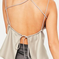 Missguided - Beige Cross Back Cami Top