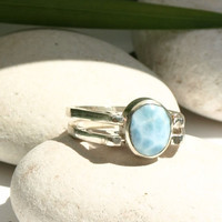 Dominican Larimar and Amber Sterling Silver Two in one Ring Multi-stone 2 way reversible genuine Dolphin stone Oval