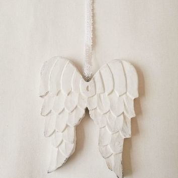 White angel wings, wooden angel wings, angel wings ornament, rustic wings, wood angel wings, white wings, white angel wings, nursery decor