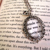 Looking for Alaska 'I was drizzle and she was a hurricane' Antiqued Silver Book Page Necklace