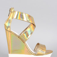 Bamboo Hologram Lug Sole Platform Wedge
