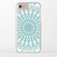 Aqua mandala Clear iPhone Case by juliagrifoldesigns