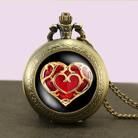 life Zelda heart container Locket necklace,Legend of Zelda Locket Necklace,Glass Pocket Watch Necklace
