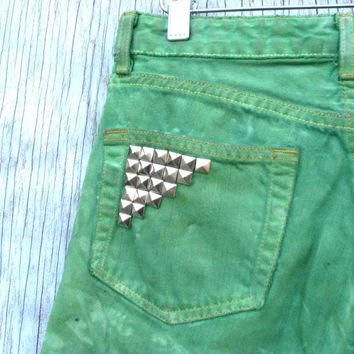 Bright Green Tie Dye Cut Off Shorts - Ralph Lauren Jeans, Studded Back Pockets, Hand D