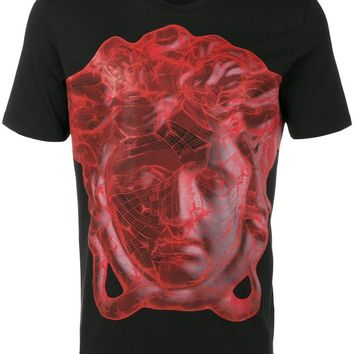 VERSACE COLLECTION BLACK WITH RED PRINT T SHIRT SIZE m