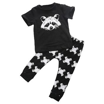 Summer Baby Girls Boys Fox Cotton Tops T-shirt Pants Leggings 2pcs New Arrival Fashion Outfits Set Costume Clothes