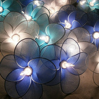 20 PCs. Blue Bluesky and White nylon flower string lights with 3 m. wire and adapter for room and party decoration