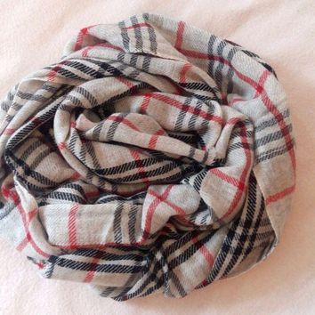 One-nice™ Authentic 100% Cashmere scarf, NEW, burberry pattern, handmade, from Nepal