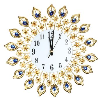 Luxury Peacock Diamond Wall Clocks Metal Living Room Digital Needle Wall  Home Decoration