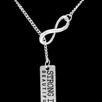 Inspirational Strong Is Beautiful Valentine Gift Crossfit Lariat Necklace