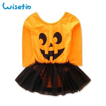 Wisefin Pumpkin Halloween Baby Girl Dresses Tutu Newborn Clothes Dress Autumn Baby Girl Sets Clothing 2018 Ropa De Bebe Varon
