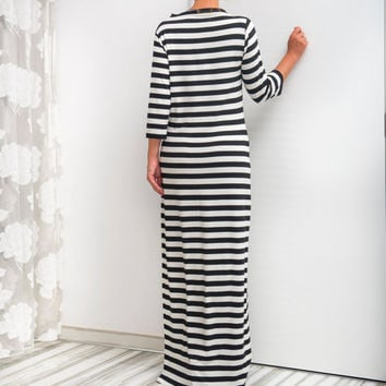 NEW SS16 Black and OFF White Striped Maxi Dress, Long dress, Spring dress, Summer Dress, Casual dress, Day dress, Long Dress