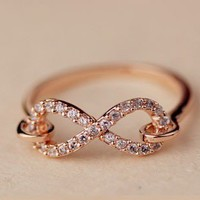 Fashion Rhinestone Infinite Symbol Ring