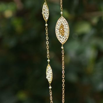 Pearl and Gold Bead Necklace