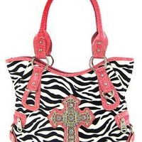 Montana West Pink Trim Black White Roomy Zebra Print Western Rhinestone Cross Purse Velvet Stripes