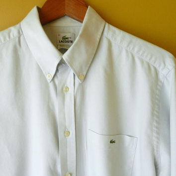 Classic Lacoste Oxford, Pale Green, Size M (15 1/2)