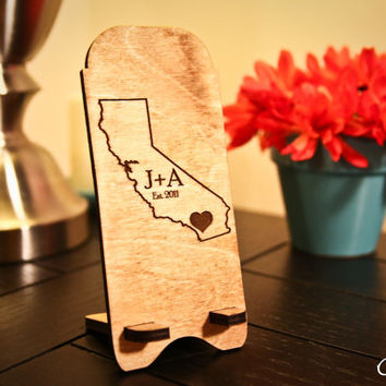Custom Engraved Wooden State Outline + Initials + Est Date Monogram Cell Phone/iPhone Stand ~ Docking Station