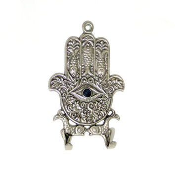SALE Silver plated hamsa,key holder,fish,evileye protection,1970's goodluck charm,key holder hamsa,handmade hamsa,unique hamsa