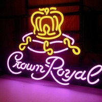 New Crown Royal whiskey Real Glass Neon Light Sign Home Beer Bar Pub Sign H73