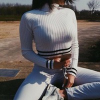 High-necked long-sleeved knit Tops Sweater