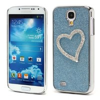Slick Shell(TM) Rhinestone Blue 3D Heart Glittery Bling Chrome Plating Hard Case for Samsung Galaxy S4