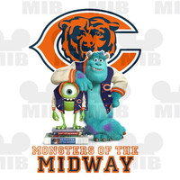Disney Inspired MONSTERS U Chicago Bears - Digital Image - Choose Your Favorite Pro or College Team - Great Idea for Shirts and Wall Prints