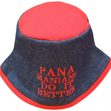 Blue Denim Red Poly-cotton Bucket Hat | Panamanians Do It Better Embroidered Hat | Panama Hat | Red Blue Hat | Denim Hat by Hamlet Pericles