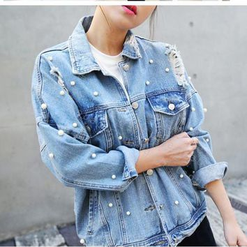 Denim Coat  Women Thin Rhinestone Pearl Beaded Denim Ladies Elegant Vintage Hole Jacket