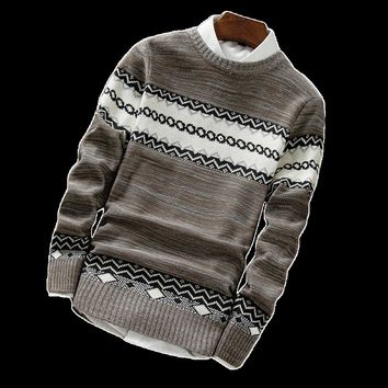 GODLIKE New 2017 Men's Knitted Sweater Patterns Thick Pullover Sweaters Winter Casual Round Neck warm Sweater Man Pullovers