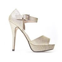 Glamorous Open Toe Heels In Champagne Gold