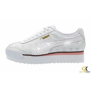 Womens Puma Roma Amor + Crystals - White/Pink | Perf