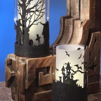 Illuminated Spooky Halloween Silhouette Lanterns (Set of 2)