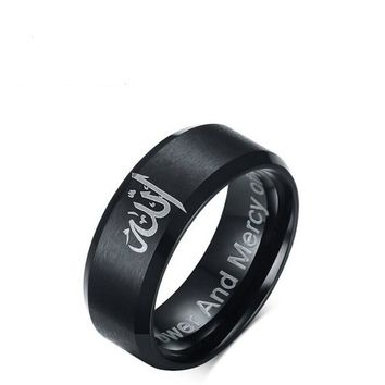 Black Muslim Allah Shahada Titanium Steel Ring For Women mens Islam Arabic God Messager Quran Band Middel East Wedding jewelry
