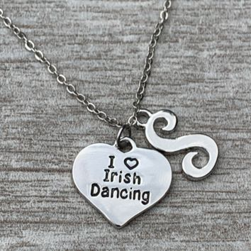 Personalized Irish Dance Necklace with Letter Charm