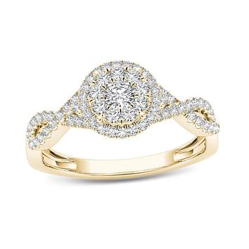 1/2 CT. T.W. Diamond Double Frame Crossover Engagement Ring in 14K Gold