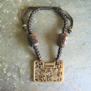 Brown Jade and Cow Bone Beads with Button Knots Necklace