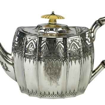 Silver Plated Ribbed Teapot by Atkin Brothers Antique English 19th Century